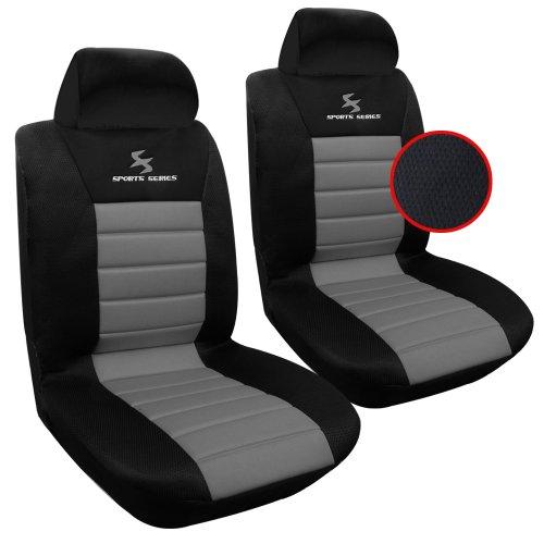 WOLTU AS7255-2 Set Coprisedili Anteriori Auto 2 Posti Seat Cover Protezioni Universali per Macchina Tessuto Poliestere Nero/Grigio