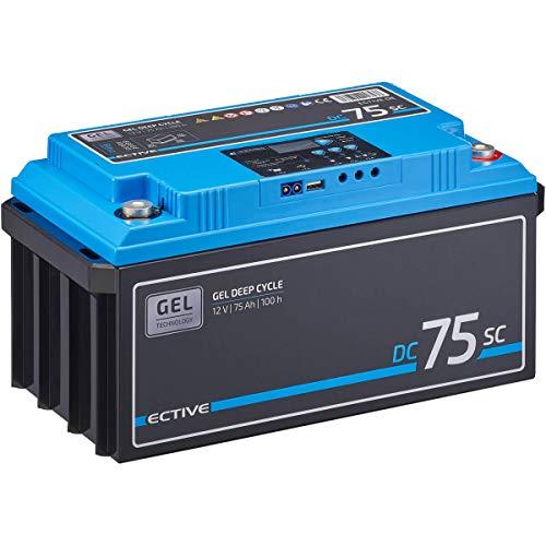 ECTIVE 75Ah 12V GEL Versorgungsbatterie DC 75sc mit LCD-Display Solar-Batterie mit integriertem PWM-Solarladeregler und Nachfüllpacks