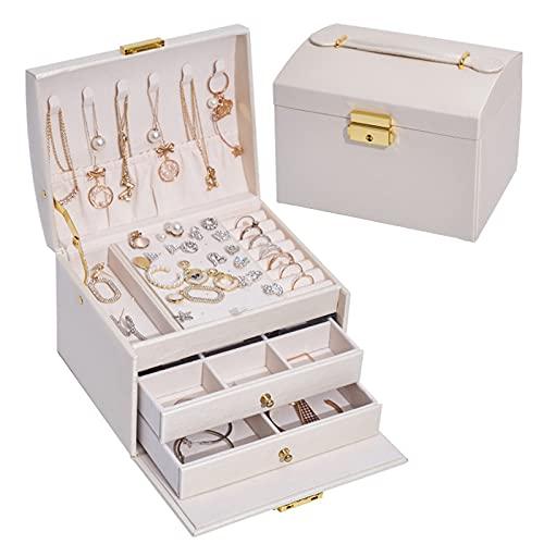 Organizador de Caja de joyería Caja de joyería con Cerradura de 3 Capas Exhibición de Cuero de PU Soporte de joyería Collar Caja de Almacenamiento de Reloj para Mujeres Grils