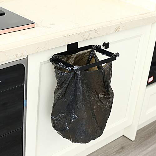 Soporte para Bolsa de plástico sobre el gabinete, Alambre de Metal Colgante, contenedor de Basura pequeño, Bolsa de supermercado, Estante para gabinetes, Puerta, Armario, Utensilios de Cocina, Negro