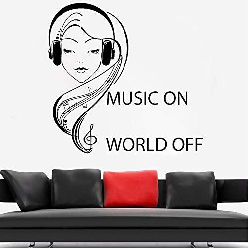 Vkjrro Etiqueta engomada de la Pared de la Muchacha de la música Desodorante de la Nota Musical Chica Decoración de la Pared del Dormitorio Auriculares Cita Music World Drop 49x49cm
