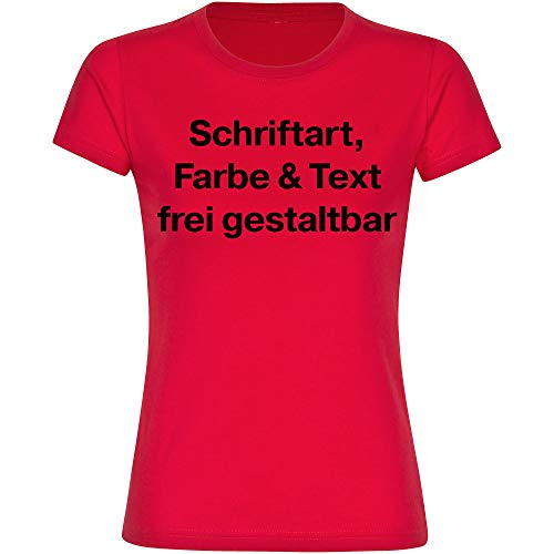 T-Shirt Shirt Damen Größe S bis 3XL inkl. Druck vorne (Anpassung von Text, Schriftart, Schriftfarbe und Artikel Farbe) Bedrucken gestalten, Größe:XXXL, Farbe:rot