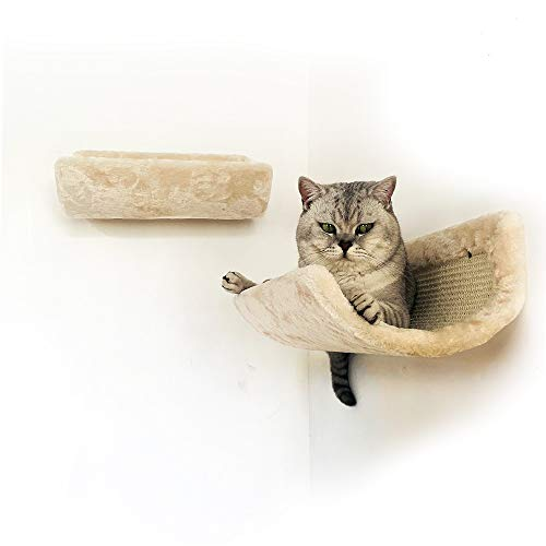 BIG NOSE- Cat Perch Wall Floating Shelves with Sisal Scratching Mat Set of 2 Embrace Design