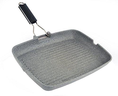 Mopita Magnum 36cm x 28cm/14.2' x 11' Grill Platter with Folding Handle, Large, Grey