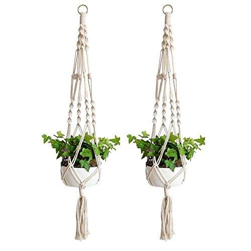 Anivia 2 colgadores de macramé para plantas, para interiores y exteriores, cesta colgante, cuerda de algodón para macetas redondas y cuadradas (40 pulgadas, blanco)