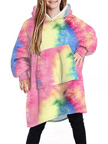 Kids Hoodie Blanket Cute Sherpa Sweatshirt with Front Giant Pocket Oversized Soft Warm Wearable Fluffy Fleece Blanket for Teens Girls BoysColorful
