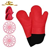 VWMYQ Extra Long Silicone Oven Mitts and Pot Holders Sets, Cooking Mittens Professional Heat Resistant with 2 Mini Pinch Mitts for Kitchen Cooking Baking ,Pack of 6