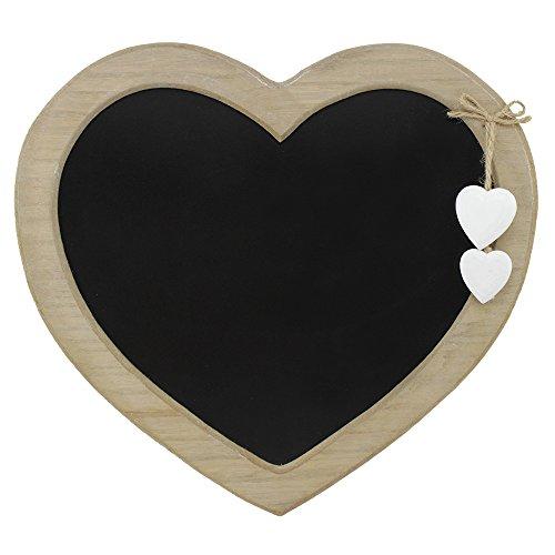 com-four® Memotafel im Landhausstil, Küchen- und Notiztafel in Herzform aus Holz mit Dekoherzen - Geschenk zum Valentinstag - ca. 31x29cm (01 Stück - 31 x 29 cm)