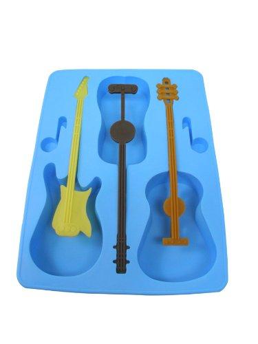 Acoustic Electric Guitar Ice Cube Tray Mold w/Stirrers Novelty Joke White Elephant Music Gift