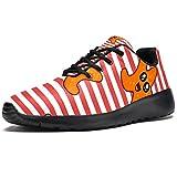 TIZORAX Zapatillas de correr para mujer con diseño de estrellas de dibujos animados en rayas de malla transpirable senderismo tenis zapatos de tenis, color Multicolor, talla 38 EU