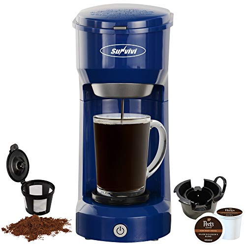 SUNVIVI OUTDOOR Single Serve Coffee Maker Brewer for Single Cup, K-Cup Coffeemaker with Permanent Filter, 6oz to 14oz Mug, One-Touch Control Button with Illumination (Blue)