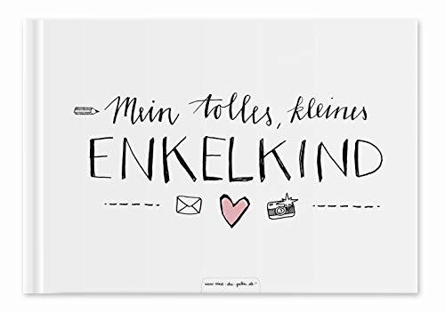Enkelbuch für Großeltern - Mein tolles, kleines Enkelkind - Eintragbuch und Fotoalbum, Erinnerungsalbum für Oma und Opa, A5, Hardcover weiß rosa, 60 S, Recyclingpapier, klimaneutral gedruckt