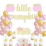 HEETON Little Pumpkin Banner Pink Girl Pumpkin Cake Topper Fall Baby Shower Birthday Halloween Thanksgiving Pumpkin Party Decorations Supplies Photo Booth Props