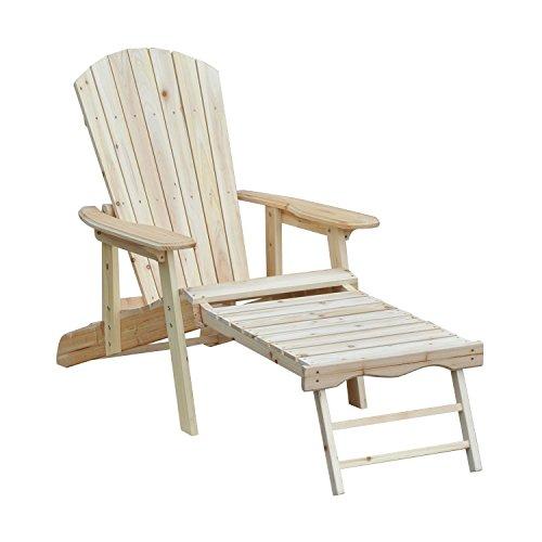 Outsunny Adirondack ligstoel, inklapbaar, verstelbaar, met houten voetensteun, 175 x 70 x 80 cm