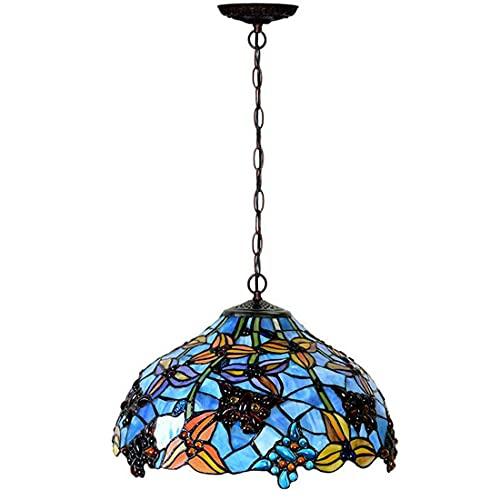 E27 Lámpara colgante de araña Tiffany Blue Vintage Comedor, diseño retro pintado con pantalla de cristal 16 pulgadas, iluminación ajustable en altura, lámpara colgante rústica para dormitorio, oficina
