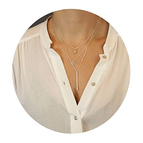SonMo Halskette Vergoldet Halsband Choker Mehrreihig Kette Halskette Quasten Gold Zirkonia Kettenanhänger Afrika
