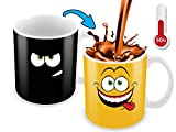 Cortunex Heat Changing Mug | 11 Oz Color Changing Mug With A Yellow Drunk Funny Smiley Face | Great Christmas Gift Idea | New Unique Funny Coffee Mug Design Ceramic Heat Sensitive Mug