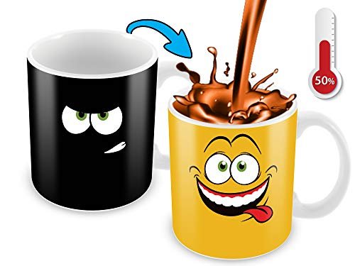 Cortunex Heat Changing Mug | 11 Oz Color Changing Mug With A Yellow Drunk Funny Smiley Face | Great...
