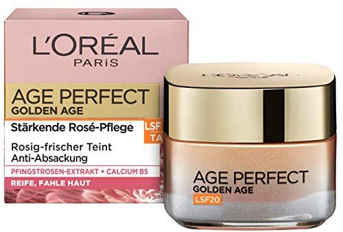 L'Oréal Paris Tagespflege, Age Perfect Golden Age, Anti-Aging Gesichtspflege, Festigung und Glanz, Für reife und fahle Haut, LSF 20, Mit Pfingstrosen-Extrakt, 50 ml