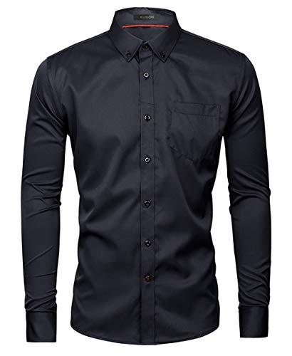 Kuson Herren Business Hemd Slim Fit für Freizeit Hochzeit Reine Farbe Hemden Langarmhemd Schwarz XL
