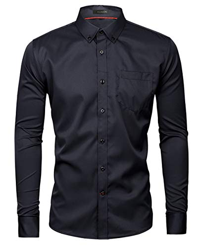 Kuson Herren Business Hemd Slim Fit für Freizeit Hochzeit Reine Farbe Hemden Langarmhemd Schwarz L