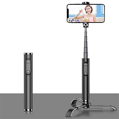 MHCYKJ Selfie Stick Bluetooth Pieghevole Selfie Stick Tripode in Lega di plastica Selfie Stick per iPhone Xiaomi Huawei,Nero