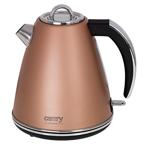 CAMRY CR 1292 - Hervidor de agua de acero inoxidable, 1,5 l, 2200 W, con mango cómodo y tapa, 360 grados, indicador de nivel de agua, apagado automático