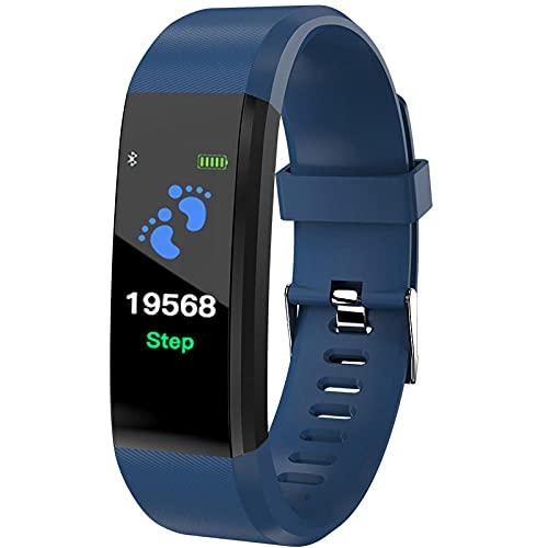 Yumanluo Smartwatch Impermeable,Pulsera Impermeable multifunción, Reloj Deportivo con recordatorio de información, Azul,Monitores de Actividad,Fitness Tracker