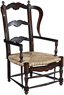 EuroLuxHome Side Wing Chair French Country Farmhouse Curved Distressed Walnut Rush Seat