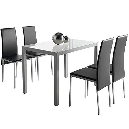 MOMMA HOME Conjunto de Mesa y Sillas Melbourne - con 4 Sillas - Mesa Fija - con Encimera de Cristal - para Salón y Cocina - Muy Elegante - Diseño Moderno Color Blanco y Negro