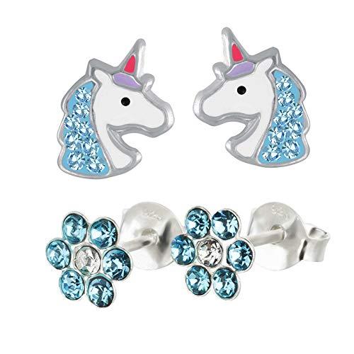FIVE-D 2 Paar Kinderohrringe Einhorn Pferd und Blume Kristall aus 925 Silber im Schmucketui (Blau-Kristalle)