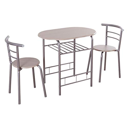 Casart 3 Piece Dining Set Compact 2 Chairs and Table Set with Metal Frame and Shelf Storage Bistro Pub Breakfast Space Saving for Apartment and Kitchen (Silver & Natural)