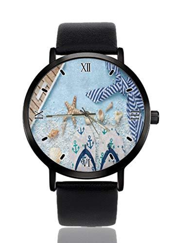 Beach Slip Seestern Muschel Sand Damen Armbanduhr Ultra Dünn Gehäuse Extrem Einfache Analog Armband Damen Ultra Dünn Armbanduhr Japanisches Quarzwerk