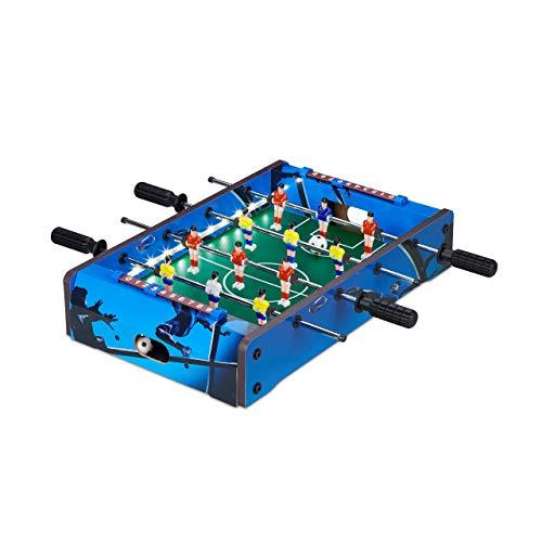 Relaxdays 10024099 Tischkicker, mit LED-Beleuchtung, Kinder & Erwachsene, 4 Spielstangen, inklusive 2 Bälle, Tischfußball, blau