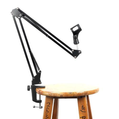 Docooler Professional Adjustable Metal Suspension Scissor Arm Stand Holder for Handheld Microphone Mic (Black)