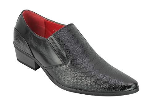 Piel de Serpiente en Relieve de Cuero del talón de Deslizamiento de los Hombres de los Holgazanes Retro Puntiagudo Cubana en los Zapatos del Partido del Vestido [A2588H-BLACK-45]