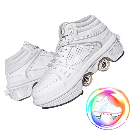 Dytxe Kick Rollers Shoes Skates Retractable Adult Skating Shoes with 7 Color Lights for Boys and Girls, Sports/Outdoor Recreation Deformation Shoes,38