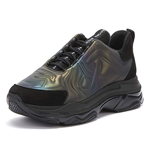 Bronx Reflective Baisley Dames Zwart/Petrol Platform Sneakers