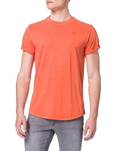 G-STAR RAW Lash Straight Fit Camiseta de Manga Corta, Dk Tangerine GD 2653-c402-Carrete de Pesca, M para Hombre