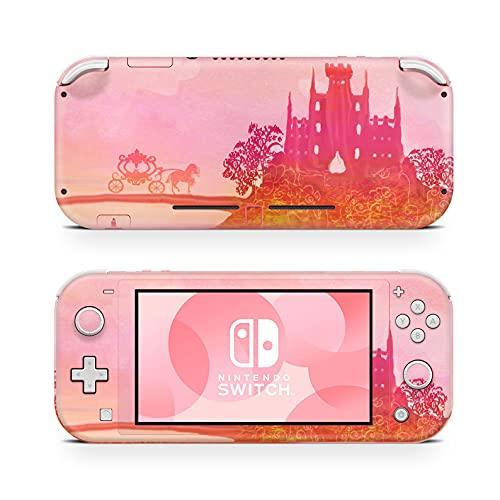 46 North Design Switch Lite Skin Vinyl Stickers, Pink Rose Cinderella Castle Naranja Carruaje Caballo Princesa Reina Color Hime Sweet, Alta calidad, Durable, Sin burbujas, Made in Canada