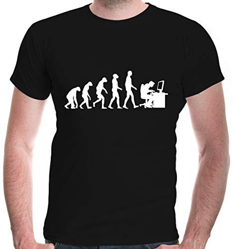 buXsbaum® Herren Unisex Kurzarm T-Shirt Bedruckt Evolution of Computer Scientist | Wissenschaftler PC IT | S Black-White Schwarz