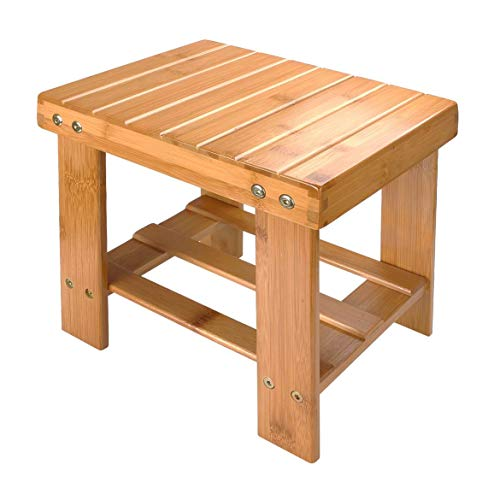 A Selected Bamboo Step Stool, 10 inch Wooden Foot Stool for Mudroom Foyer Entryway Shoe Bench