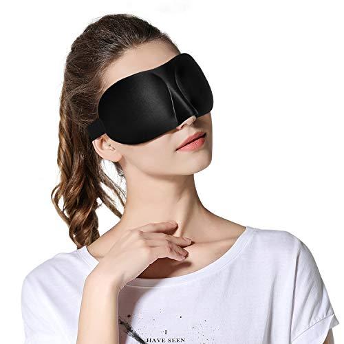 Viedouce Mascherine per Dormire 3D,2021 Maschera per il Sonno 3D per Uomini e Donne, Maschera per Occhi Bloccare la Luci con Cinghia Comoda Orientabile(3d- Nero)