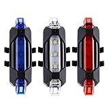 GvvcH 3 Piezas Luz LED Trasera de Bicicleta Luz Trasera de Bicicleta Lámpara de Bicicleta de Montaña Recargable por USB Luz Impermeable, Azul, Blanco, Rojo