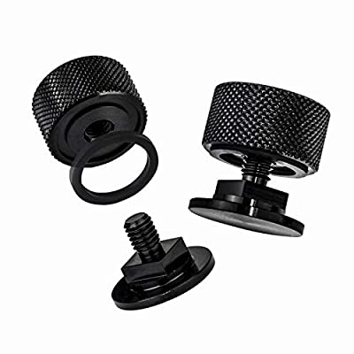 3mirrors Welding Hood (Pipeliner) Helmet Fasteners Headgear Replacement Parts Accessories Screws Flip Hood Aluminum - 1 Pair ((NEW) Black Anodized w/Silicone Washer)