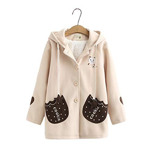 Abrigo de invierno para niñas adolescentes con diseño de oso kawaii bordado de galleta bolsillo con capucha de lana y terciopelo casual botón Outwear Tops
