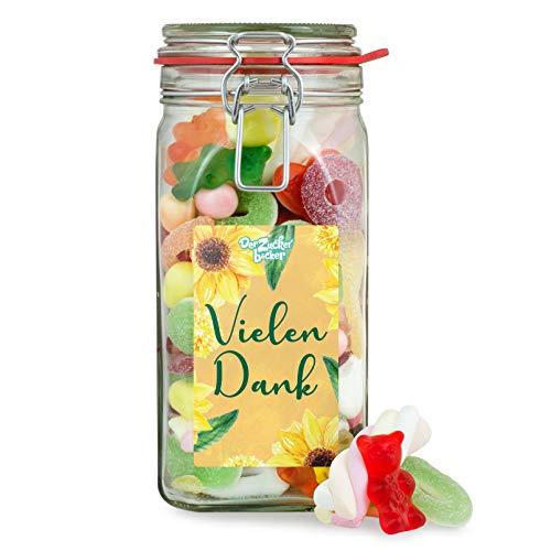 Vielen Dank - bunter Süßigkeiten-Mix im Naschglas, um Familie, Freunden und Mitarbeitern Danke zu sagen