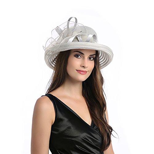 DANTIYA Lady's Organza Wide Brim Bowler Hat Kentucky Derby Church Dress Sun Hat, Grey, Free