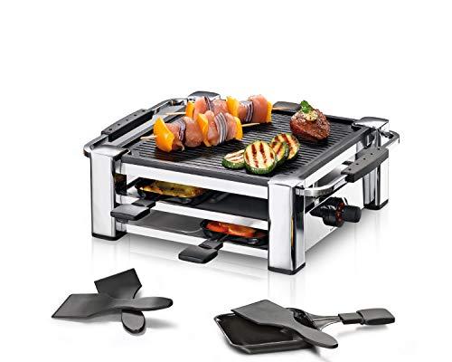 ROMMELSBACHER RCC 1000 Raclette-Grill (Tischgrill, für 4 Personen, gerippte Alu-Druckguss-Grillplatte mit Xylan Plus Antihaftbeschichtung, Parkdeck, 4 Pfännchen, 4 Schaber, 1000 W) chrom