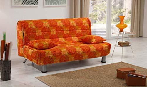 Divano Letto con Rete Elettrosaldata 3 posti design moderno 166x90x90 cm Soggiorno Salotto (Vortice arancio)